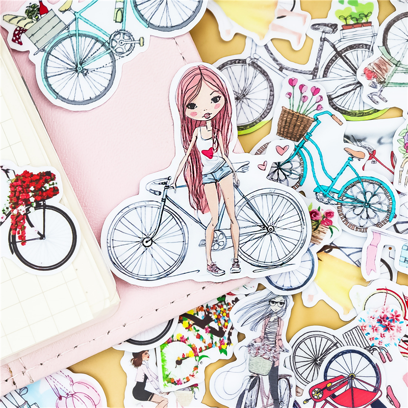 38pcs Hand Drawing Bicycle Sticekrs Watercolor Sticker Diary Notebook Planner / Handbook DIY Letter Thin Paper Waterproof