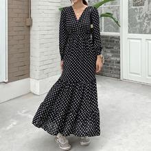 купить XL-5XL Autumn Large size Women V-neck Dress Loose Casual Polka Dot Long Dress Slim Long Seeve 4XL Plus size Long Party Dresses дешево