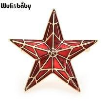Wuli & baby-broches de esmalte rojo de cinco puntas para hombre y mujer, insignia de aleación con pentagrama, día de la Victoria, joyería
