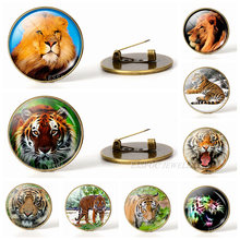 2019 Hot Lion Tiger Brooch Pins Lionking Animal Brooches Glass Cabochon Unisex Accessories Decoration Classic Movie Jewelry