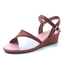 100% Leather Women Wedges Sandals Summer Ladies High-heeled Sandal G229 Woman Ankle Strap Apricot White Buckle Peep Toe Shoes