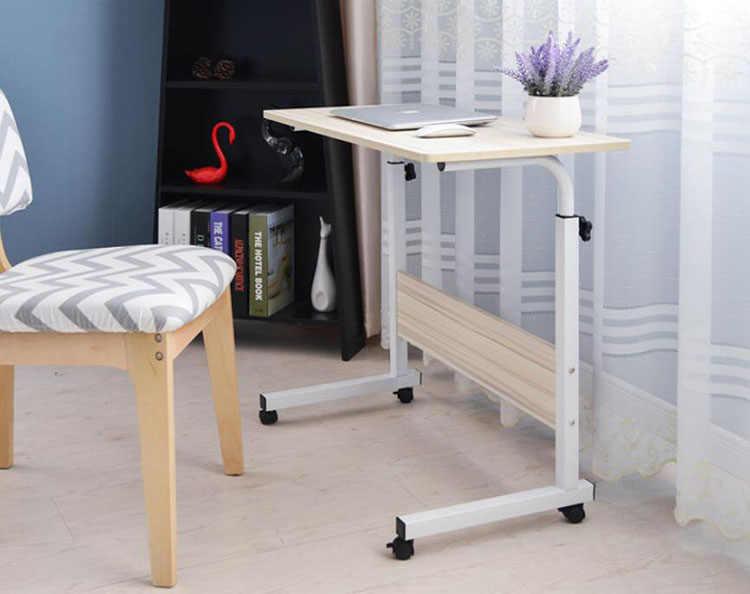 Regulowane biurko komputerowe z kołami przenośny laptop biurko obrót Notebook łóżko SofaTable może być podnoszony stojące biurko