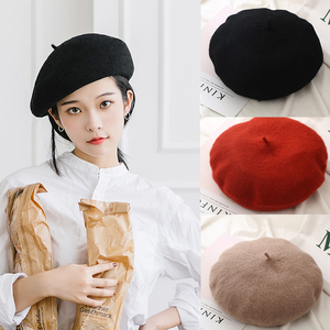 New Women Winter Hat Beret Female Wool Cotton Blend Cap 23 Color New Woman's Hat Caps Black White Gray Pink Boinas De Mujer(China)