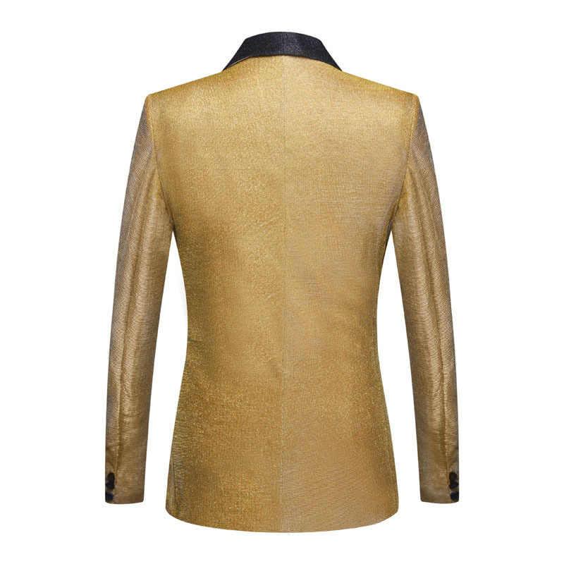 PYJTRL Heren Shiny Gold Paars 2 Stuks Set Suits Laatste Coat Pant Designs Wedding Suits Smoking Party Prom Zangers Kleding