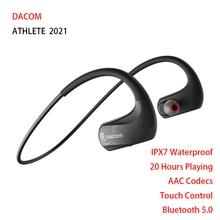 DACOM นักกีฬากีฬาหูฟังไร้สายบลูทูธ IPX5ชุดหูฟังกันน้ำพร้อมไมโครโฟนสำหรับ iPhone Xiaomi Huawei