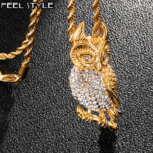 HIP Hop Pave Animal Bling Iced Out Crystal Owl Necklaces & Pendants Chains Titanium Necklace for Men Jewelry Dropshipping