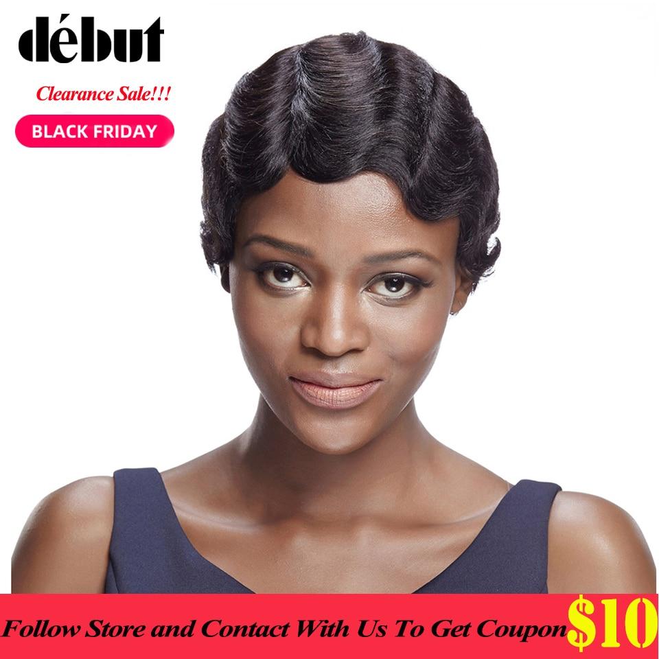 Debut Short Bob Wigs Brazilian Remy Human Wigs For Black Women Short Pixie Cut Wig Colored Curly Human Hair Wig Free Shipping