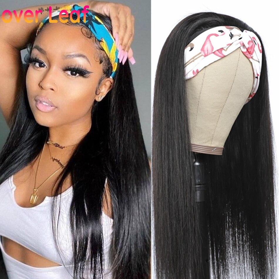 Trevo folha headbands perucas de cabelo humano em linha reta 150% remy malaio bandana perucas cachecol sem cola cabeça banda perucas cabelo humano