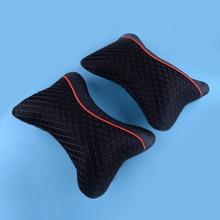 DWCX 2 pièces voiture intérieur noir PU doux coton voiture appui tête fournitures cou reste oreiller voyage accessoires