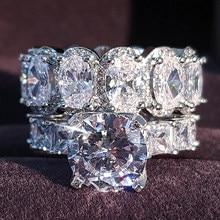 Anillo de compromiso de zirconia R4975 para mujer, Plata de Ley 925 auténtica de lujo, corte princesa, oval, boda