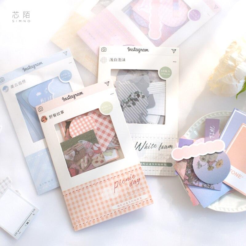 40 Sheets Creative Fresh Sticker Pack Bullet Journal DIY Decoration Cute Diary Scrapbook Stickers Kawaii Fresh Ins Style