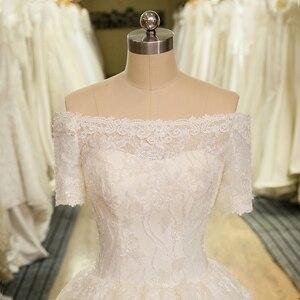 Image 4 - Robe de mariée Vintage en Tulle dentelle avec des Appliques, charmante manches courtes, style Boho, col bateau, robe de mariée, suknie slubne, SL 6