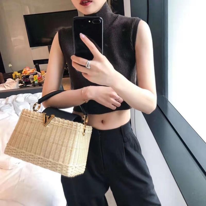 Luxury Handbags Women Genuine Leather Bags Designer Rattan Weave Cowhide Handbag For Women 2019 Original Luxurious Fashion Brand