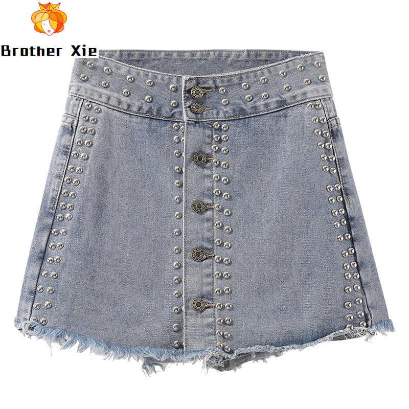 Niet Jean Shorts Frauen INS Hohe Taille Cowboy Kurzen Rock Stil Shorts frauen Frühling Sommer Neue A-Linie jean Hosen Shorts