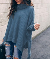 Turtleneck Sweater for Women, Loose Long Sleeve High Low Waffle Knit Cotton Blend Pullover for Girls