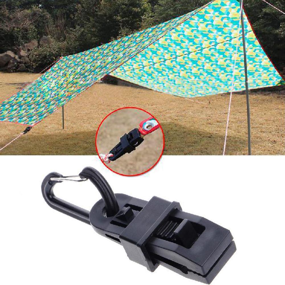 12Pcs Tarp Clips Plus Aluminum D-R Carabiner Camping Awning Tent Clamp Clips Hot