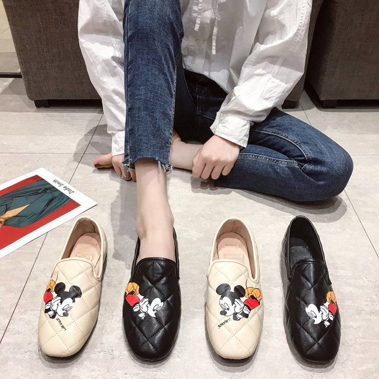 2020 Spring New Korean Version Of Mickey  Cartoon Square Head Flat Single Shoes Women's Scoop Shoes Burst One Generation