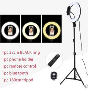 Selfie Ring-Light Tripod Phone-Holder Photography-Lighting Eu-Adaptor Remote-Control