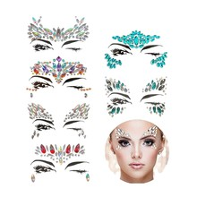 6 Sets Face Gems Rhinestone Mermaid Face Jewels Tattoo - Face Crystal Stickers Tears Gem Stones Bindi Temporary Stickers(China)