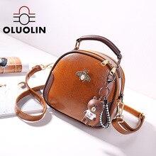 цена на Women's Circular Bags Mini Lovely Lady Shoulder Crossbody Bag Small Cute Bear Pendant Portable Zipper Color Block Famale Handbag