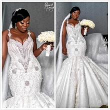 Luksusowe suknie ślubne afryki syrenka Plus rozmiar 2020 szata de mariee wyszywana kryształkami koronkowe suknie ślubne Custom Made suknia ślubna