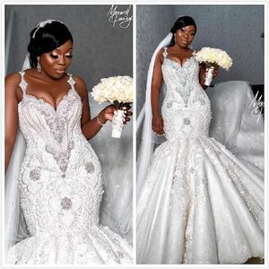 Image 1 - Luxury African Mermaid Wedding Dresses Plus Size 2020 robe de mariee Beaded Crystal Lace Wedding Gowns Custom Made Bridal Dress