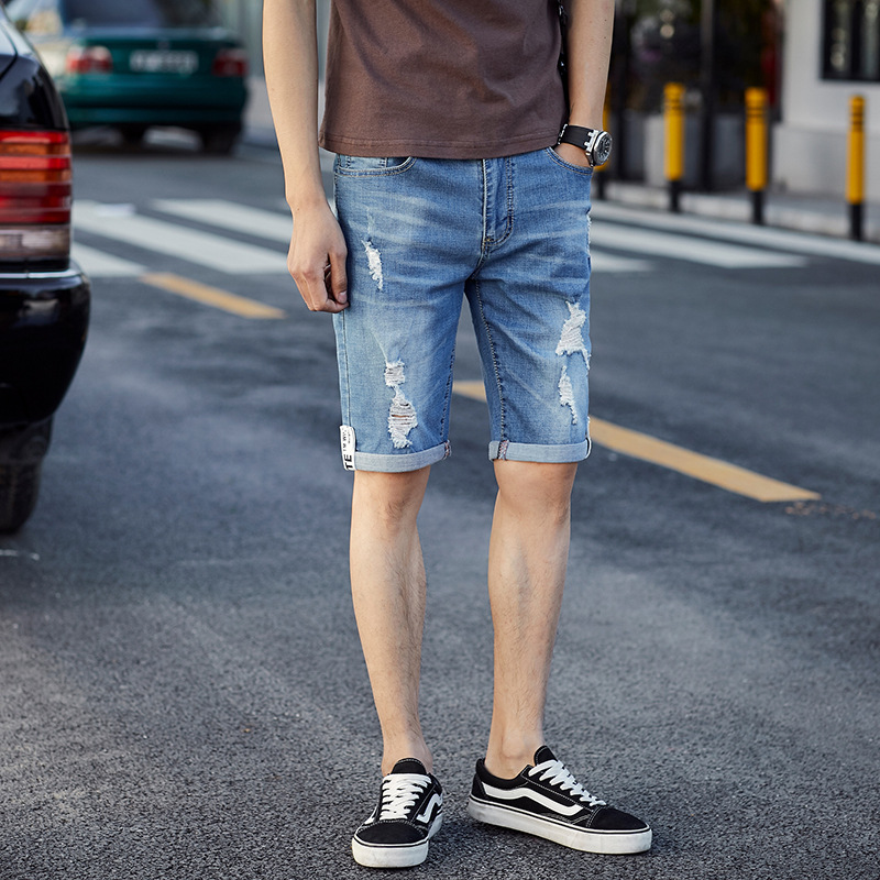 Summer Thin Section With Holes Jeans Shorts Men's Fashion Scraping Rotten Pants Loose Casual Shorts 5 Shorts 1815