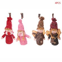 4pcs/set Christmas Angel Girl Boy Doll Xmas Tree Ornament Pendant Party Decoration Home Festival Kids Gifts