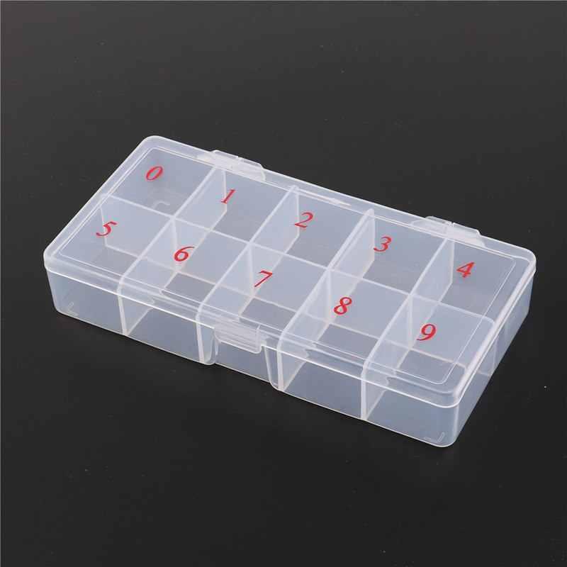 10/11 อะคริลิคพลาสติกเซลล์เทียมเล็บเคล็ดลับ Art กล่องกรณีโปร่งแสงธรรมชาติปลอมเล็บเคล็ดลับ Art กรณีเล็บเครื่องมือ