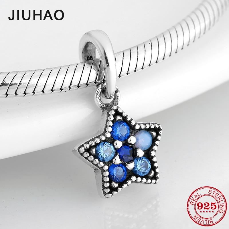 Blue CZ Shining Star Shape 925 Sterling Silver Fine Pendants Beads Fit Original Pandora Charms Bracelet Jewelry Making