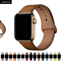 URVOI band for apple watch series 6 5 4 3 2 SE sport band Genuine Swift leather strap for iWatch wrist Pin&tuck closure Handmade 1