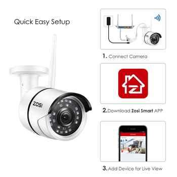 ZOSI WiFi Outdoor IP Camera 1080p HD Waterproof 2.0MP Wireless Security Camera Metal TF Card Record P2P Video Surveillance
