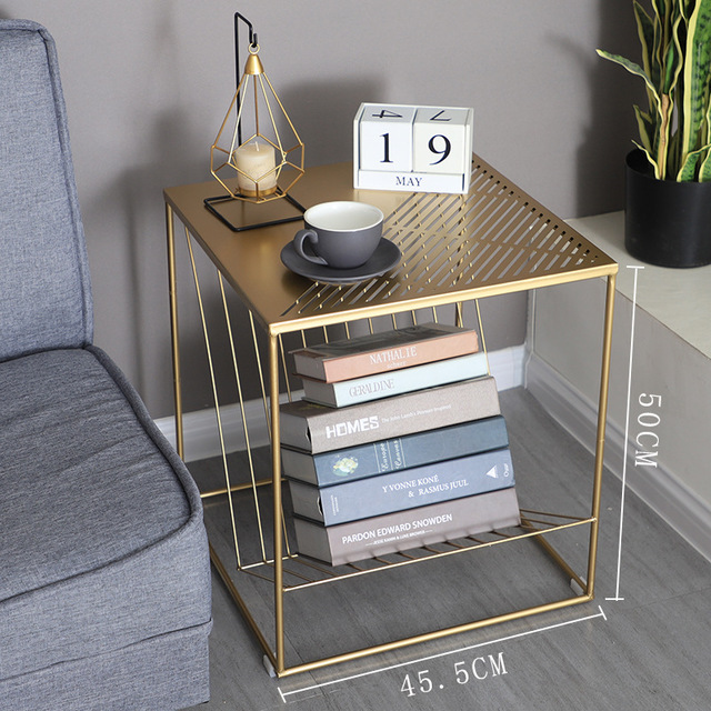 nordic iron sofa bedside small table with magazine book storage tray home bedroom side table living room coffee table black gold