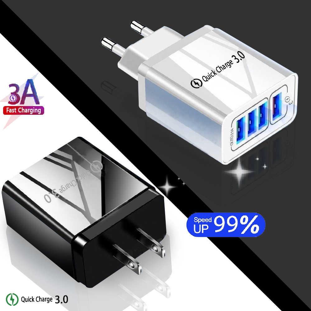 ดี EU/US 4 ปลั๊ก USB Charger Quick Charge 3.0 Fast เครื่องชาร์จโทรศัพท์มือถือ Quick ชาร์จ 5V/3A สำหรับ iPhone Xiaomi Huawei