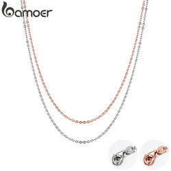 BAMOER Rose Gold Color 925 Sterling Silver Necklace Chain Lobster Clasp Simple Chain Fashion Necklace Basic Jewelry 45cm