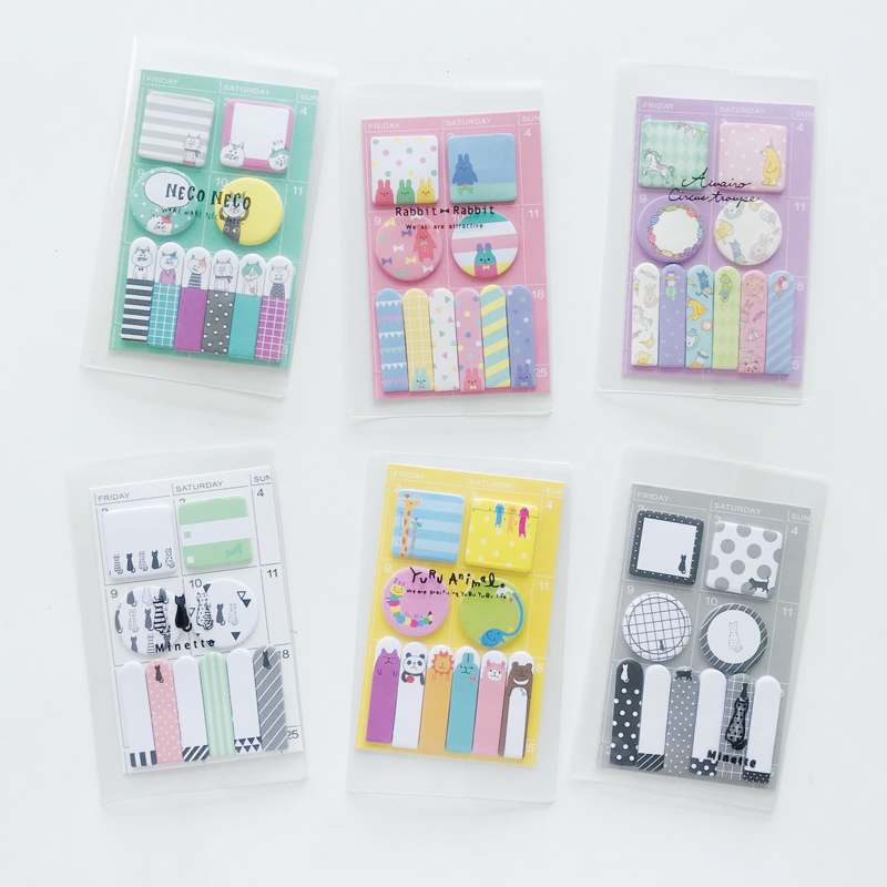 1X Cute Candy Color Cartoon Animals Daily Memo Pads Paper Sticky Notes Stick Label Decor School Office Supply Student Stationery