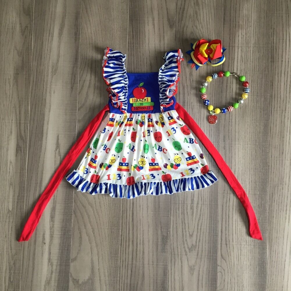 Baby Girls Summer Dress Girls Back To School Dress Apple Dress Girls Belt Dress Girls Boutique Dress With Accessories