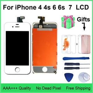 Image 1 - AAA jakość LCD dla iPhone 4 4s wymiana ekranu wyświetlacz Digitizer ekran dotykowy montaż dla iPhone 6 6s 7 ekran LCD