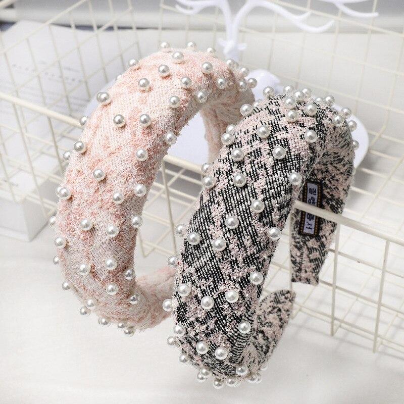 Lote Faça Você Mesmo Simples Multi lã Pérola Esponja Cabeça Bandas Lady Gaze Headbands Hair Styling Ferramentas Acessório Ha1016 30 Pçs –