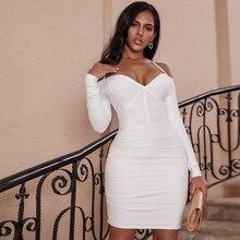 사슴 숙녀 겨울 붕대 드레스 2019 새로운 vestidos 여성 흰색 긴 소매 붕대 드레스 bodycon 홀터 드레스 섹시한 파티 클럽