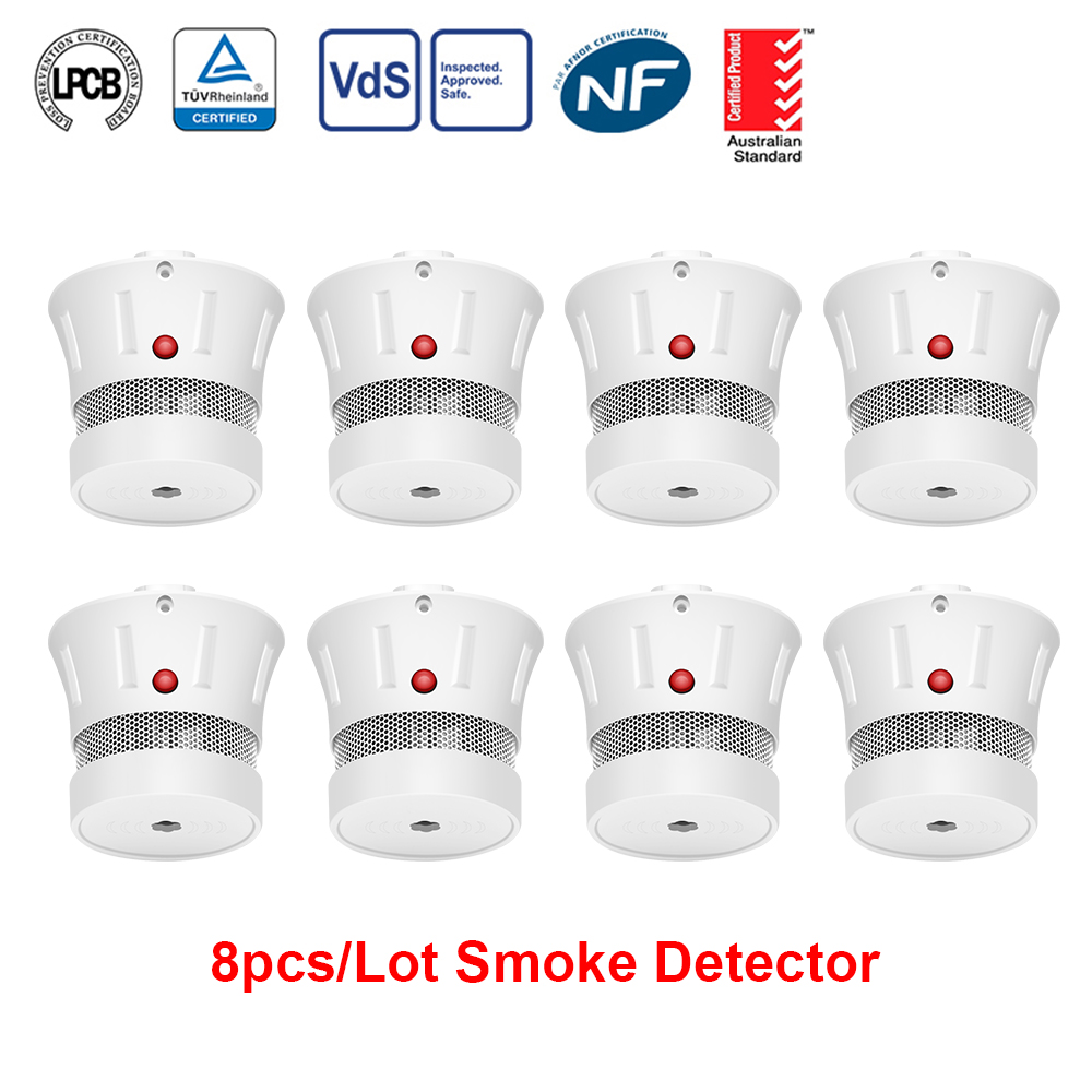 CPVan 8pcs/Lot Smoke Detector CE Certification EN14604 Smoke Sensor 10 Year Battery 85dB Fire Alarm Home Security Smoke Sensor