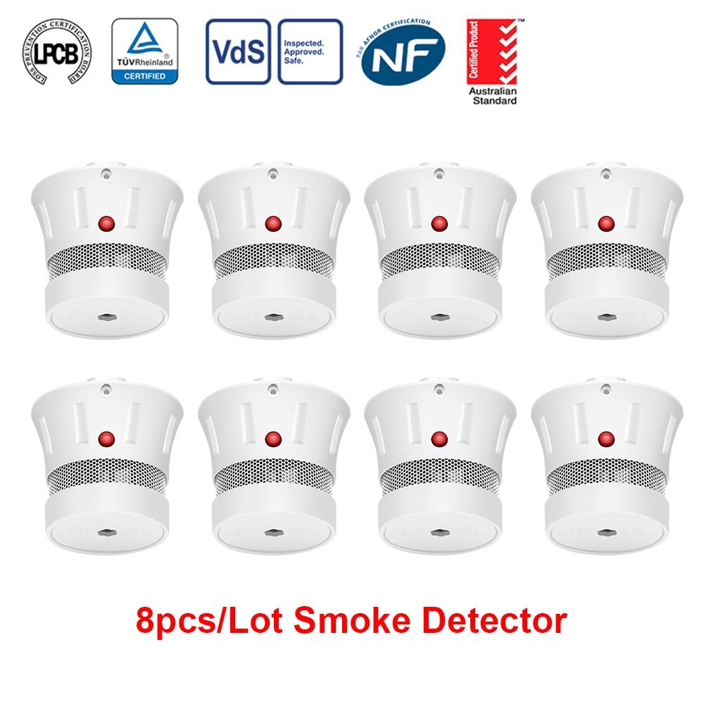 CPVan 8pcs/Lot Smoke Detector CE Certification EN14604 Smoke Sensor 10 Year Battery 85dB Fire Alarm Home Security Smoke Sensor