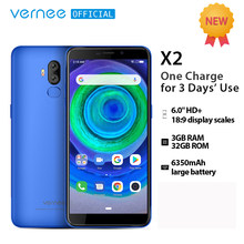 Vernee X2 Android 9.0 LTE Smartphone 6.0''HD screen 6350mAh Quick Charge 3GB RAM Dual SIM 4G LTE Celular cellphone