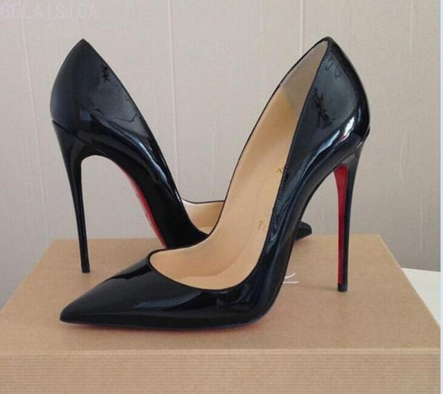 2020 Pumps Brand Women High Heel Shoes Red Shiny Bottom Black/nude Patent Leather Red Wedding Shoes Thin Heel 34-44 Without Box