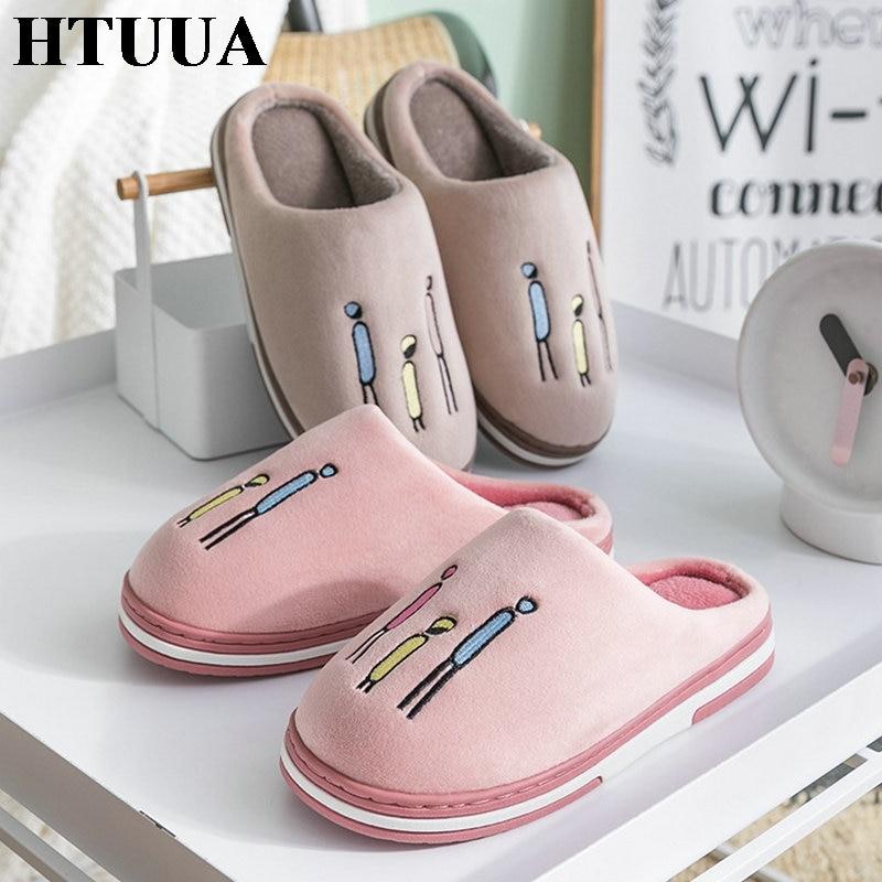 HTUUA Women's Shoes Couples Home-Slippers Plush Winter Indoor Warm Cartoon Flock Autumn