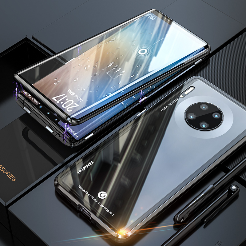 Luxury Front And Back Glass Cover For Huawei Mate 30 Pro Case 360 Magnetic Magnet Metal Bumper Cover Huawei Mate30 Pro Case Etui