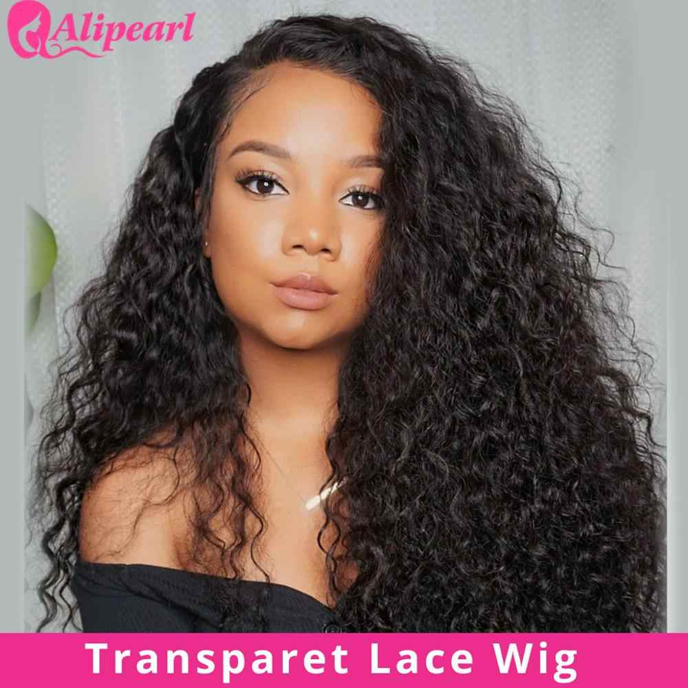 Water Wave Transparent Lace Front Human Hair Wigs For Black Women Brazilian Hair Wigs Pre Plucked 180% Density AliPearl Hair
