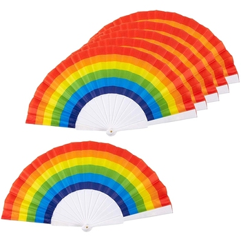 Rainbow Fans-Pack Of 6-Rainbow Party Supplies For Rainbow-Themed Parties And Lgbt Or Gay Pride Events,9.25x1.25x0.75 Inches