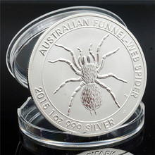 Australia Animal Challenge Coin Spider Kangaroo Silver Plated Commemorative Elizabeth II for Collection Gift