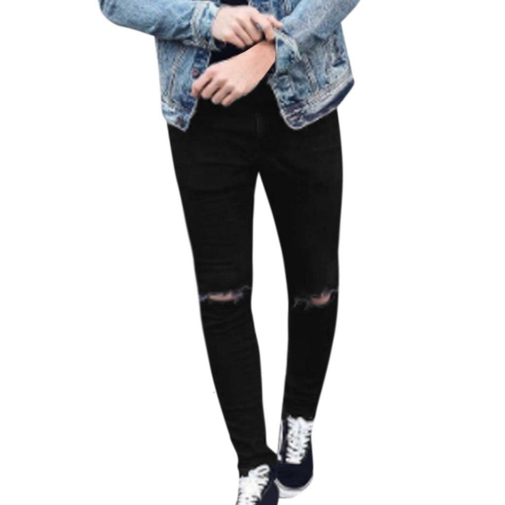 2019 New Men Joggers Male Trousers Casual Pant Men's Fashion Denim Cotton Straight Hole Trouser Distressed Jeans Long Pant S-3XL